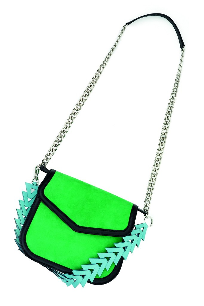 Green suede V shoulder bag