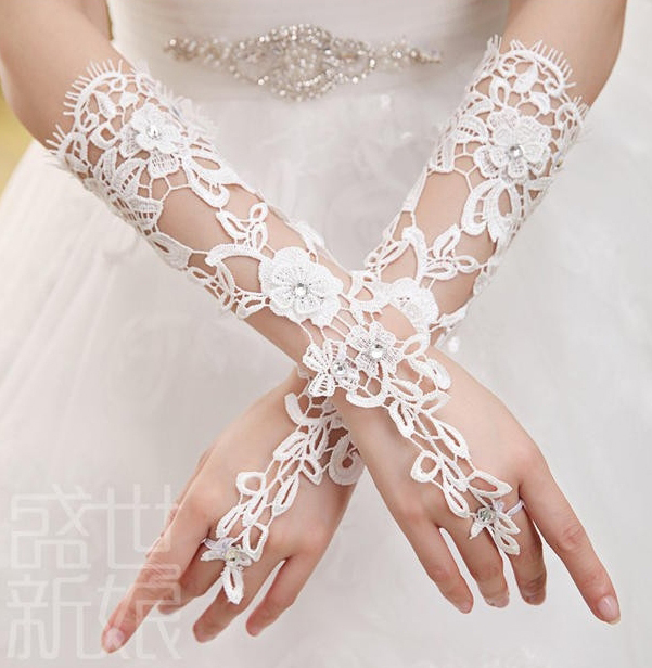 Long-Lace Bridal Gloves Fingerless