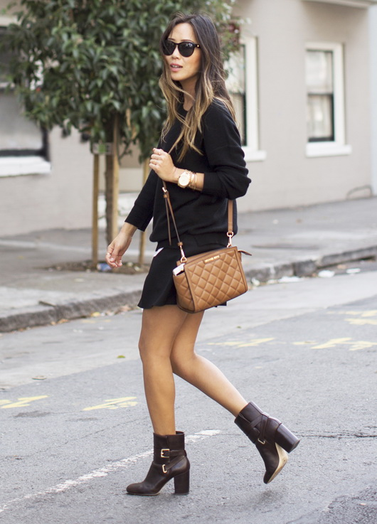 aimee-song-black-sweater-black-pleated-skirt-ankle-boots_michael_kors_bag