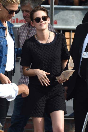 Kristen Stewart hops off a water taxi as she attends the 2015 Venice Film Festival **USA ONLY**