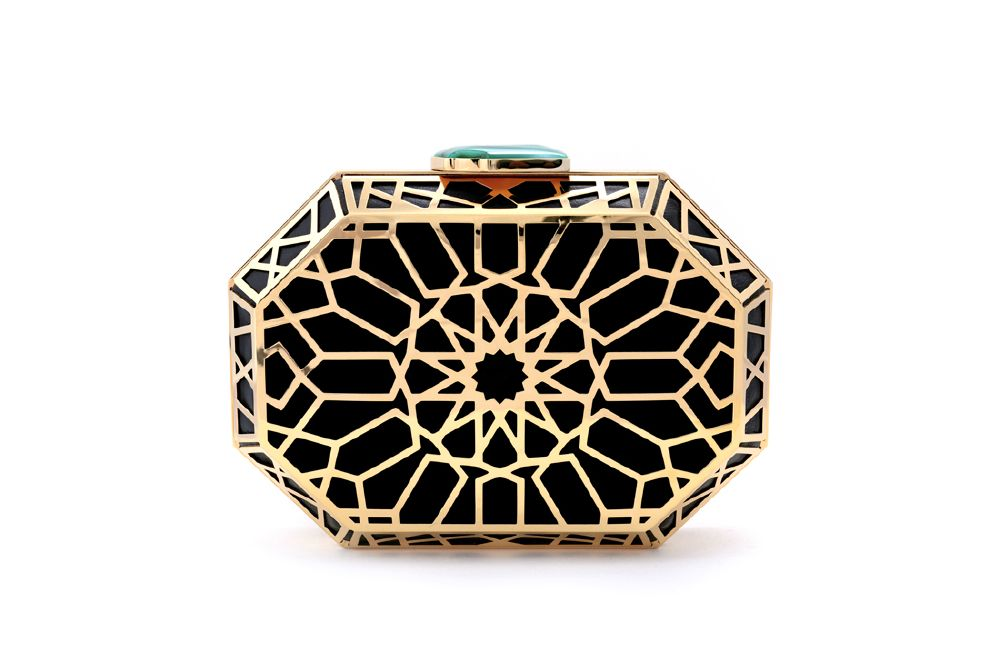 resized_NS by Noof_Shaikha Clutch_9500 AED_Black Lambskin 22 Karat Gold Jade Stone