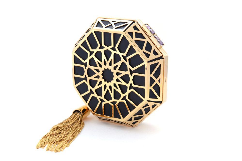 resized_NS by Noof_Shoug Clutch_8000 AED_Black Lambskin 22 Karat Gold Purple Zircon_side