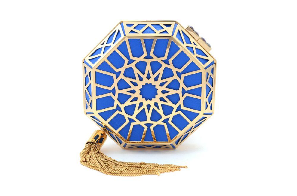 resized_NS by Noof_Shoug Clutch_8000 AED_Blue Lambskin 22 Karat Gold Purple Zircon