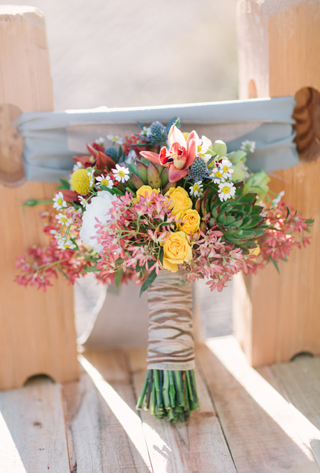 wedding-bouquets-hand-tied-wrapped-brown-striped-ribbon