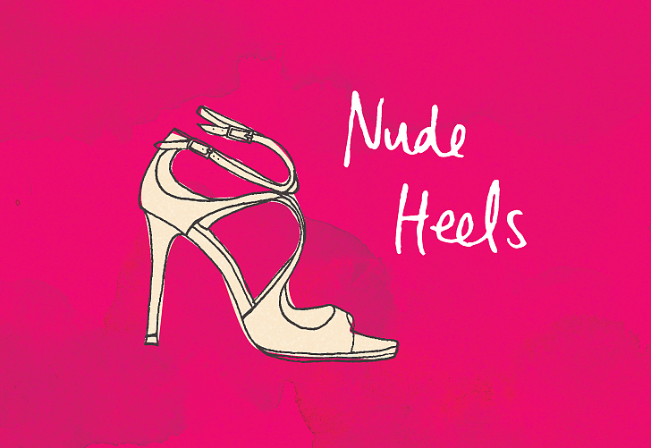 الأحذية أو الصنادل ذات الكعوب العالية وبلون الجلد