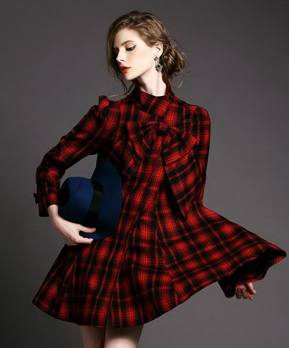 2015-fashion-Slim-plaid-Bow-Long-section-big-swing-dress-Woolen-Worsted-Maone-coats-Spring-and