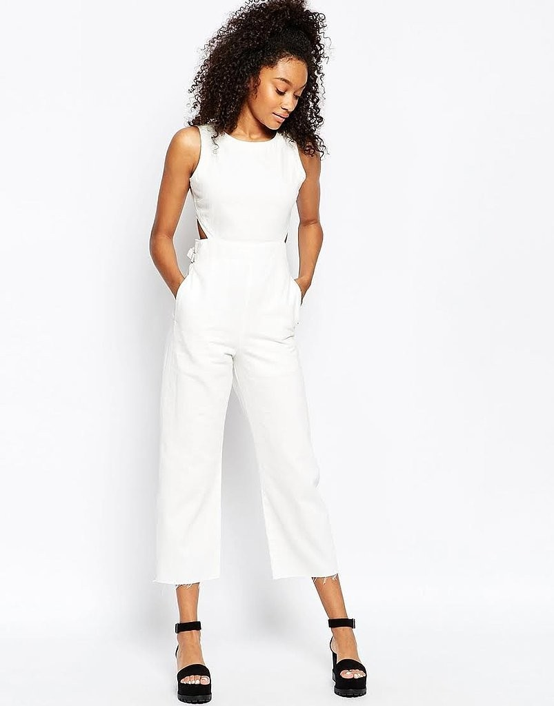 ASOS Wide Leg Cut Out Jumpsuit in White