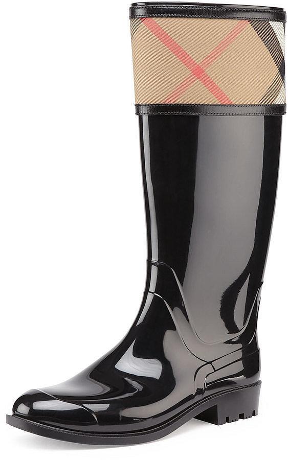 Burberry Check-Cuff Rubber Rain Boot