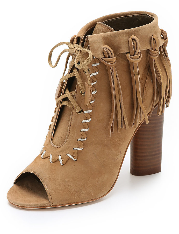 Cynthia Vincent Fringe Open Toe Booties