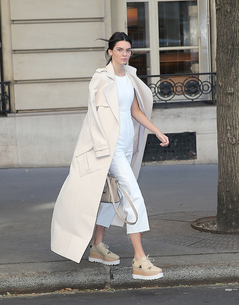 Kendall-added-chic-trench-Stella-McCartney-creepers