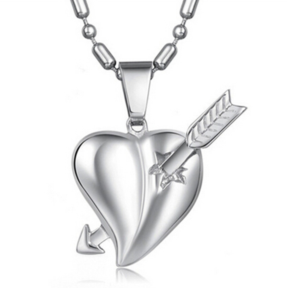 New-Love-Cupid-arrow-piercing-a-heart-shaped-pendant-male-style-titanium-steel-necklace-fashion-jewelry
