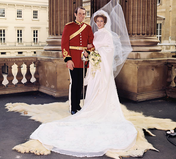 Princess Anne on her wedding day in 1973.