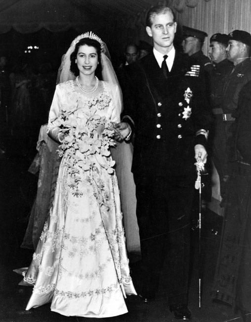 Queen Elizabeth, on her wedding