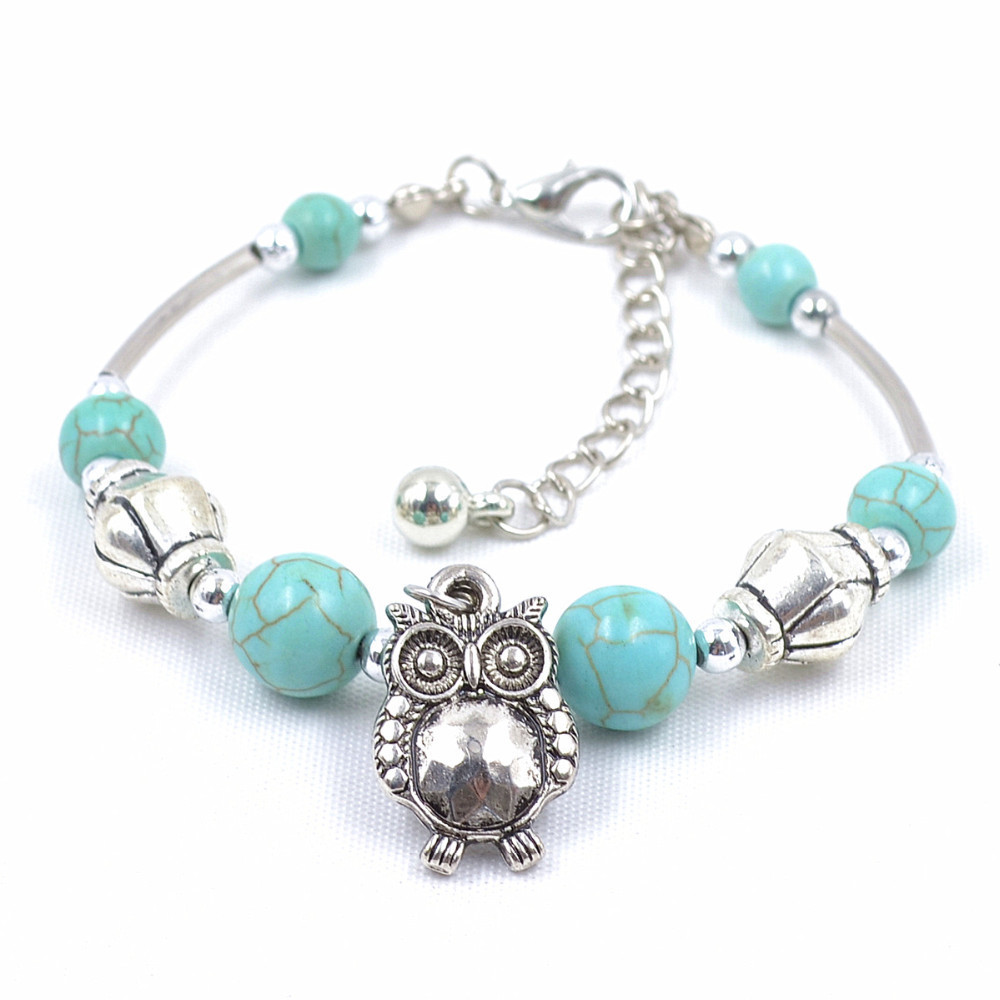 Tibet-Silver-TURQUOISE-Stone-Beads-font-b-Handmade-b-font-Owl-Charm-Vintage-Bracelet-Bangle-Jewelry