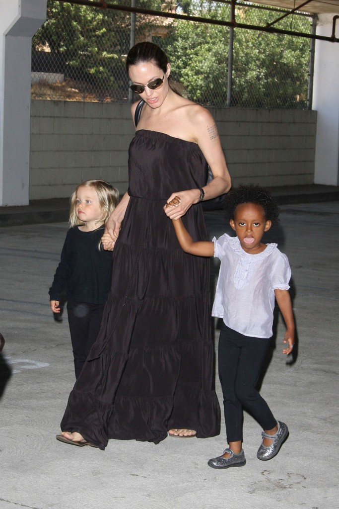 Angelina Jolie takes her girls to a dance class in Studio City