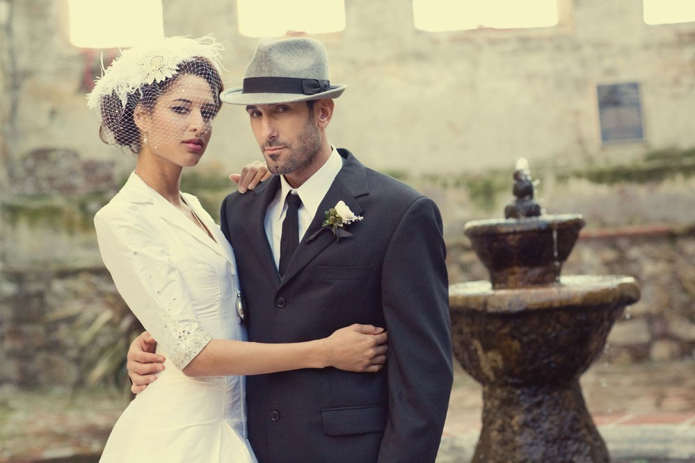 grooms hat and deco style bonnet for the bride