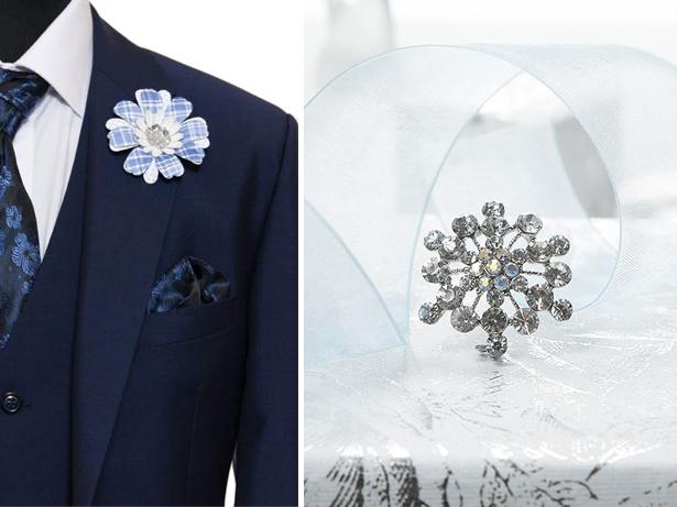 handkerchief and brooch