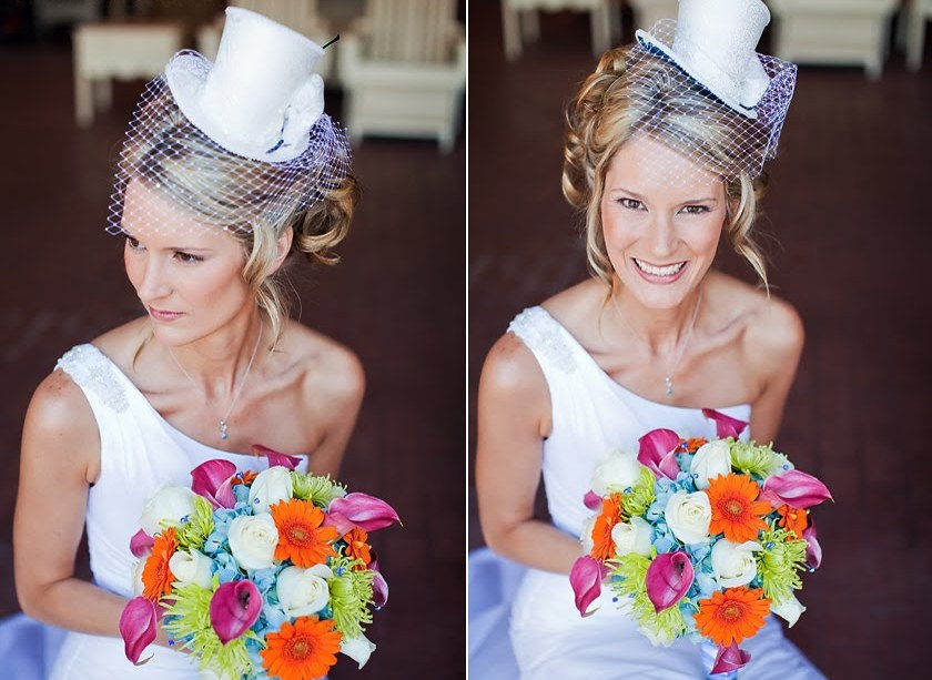 mini top hat to match the grooms hat