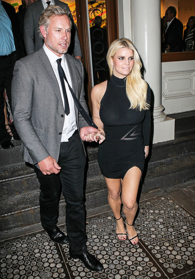 Jessica Simpson and Eric were leaving art Exhibition in Soho.