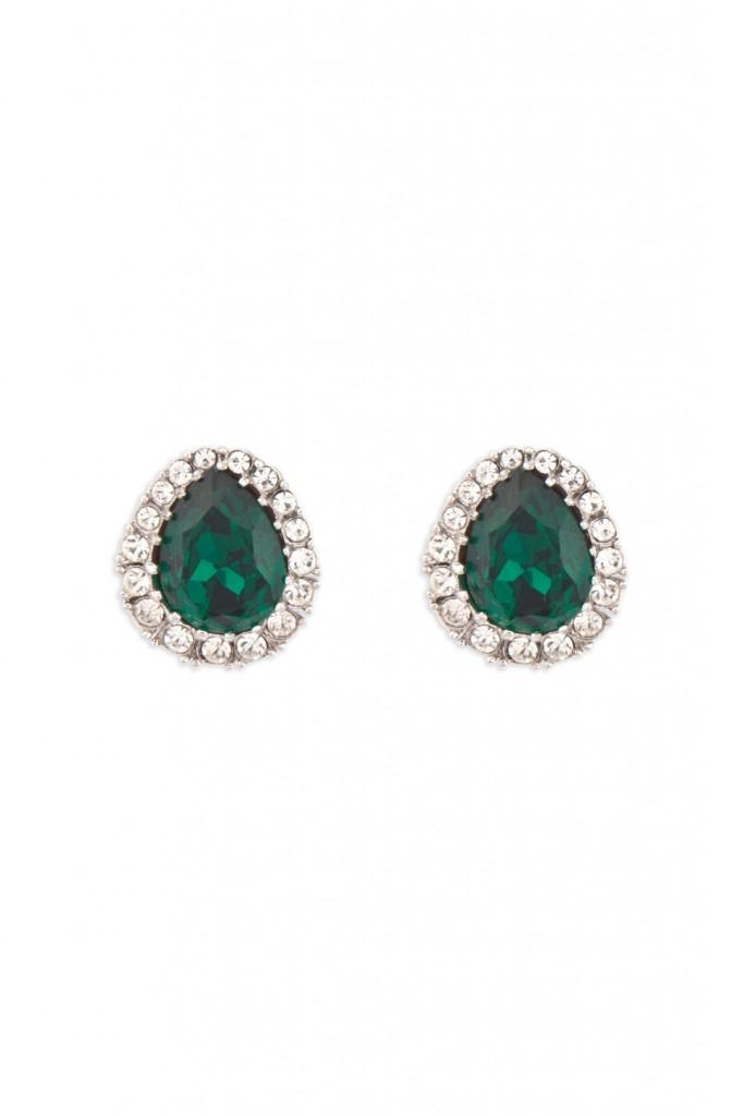 Emerald Pear Stud Earrings