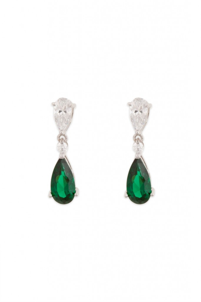 Emerald Tear and Crystal Drop Earrings
