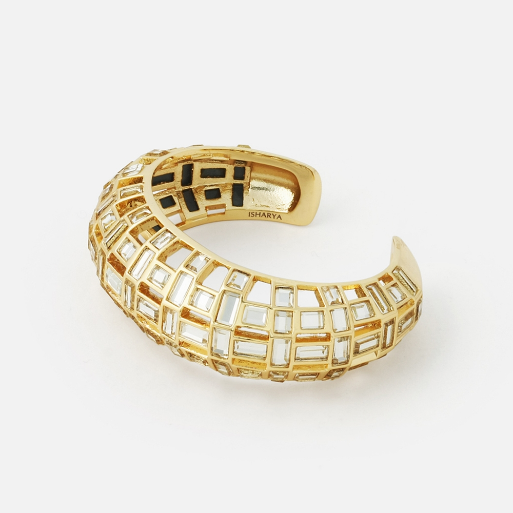 Pyramid-Mirror-Statement-Cuff-by-isharya-jewelry USD 168