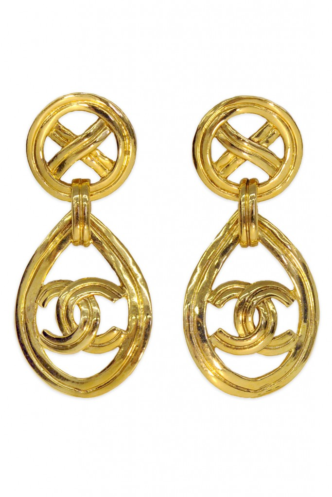 Vintage Chanel CC Gold Drop Earrings