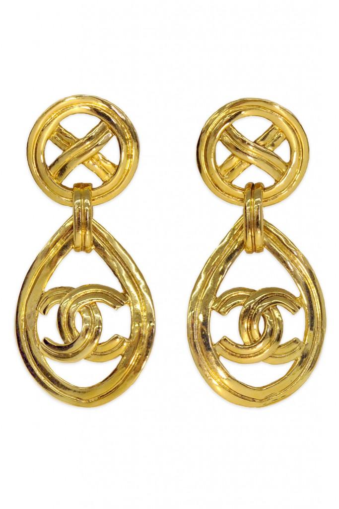 Vintage Chanel CC Gold Drop Earrings