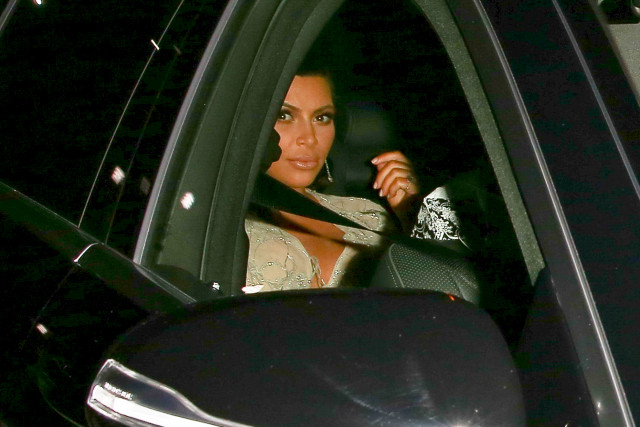 Kim Kardashian and Kanye West arrive for Kris Jenners 60th birthday party