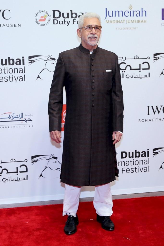 الممثل الهندي نصرالدين شاه خلال افتتاح مهرجان دبي السينمائي الدولي