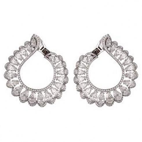 Chopard White Gold and Diamond Hoop Earrings