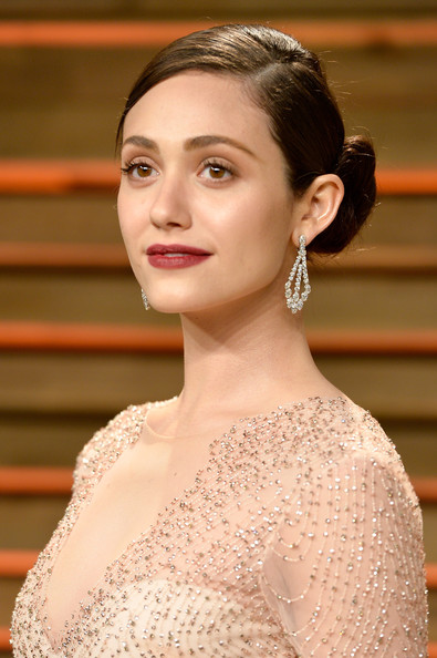 Emmy+Rossum+Dangle+Earrings+Dangling+Diamond chopard - 2014 Vanity Fair Party Oscar