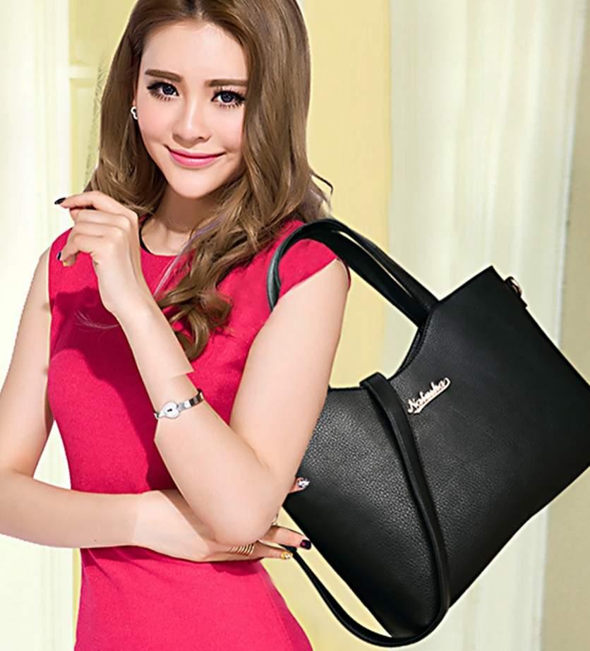 Free-shipping-Delicate-Office-Lady-Tote-Bag-Pure-Color-Women-Handbag-Shoulder-Messenger-Bag-Purse-Ladies