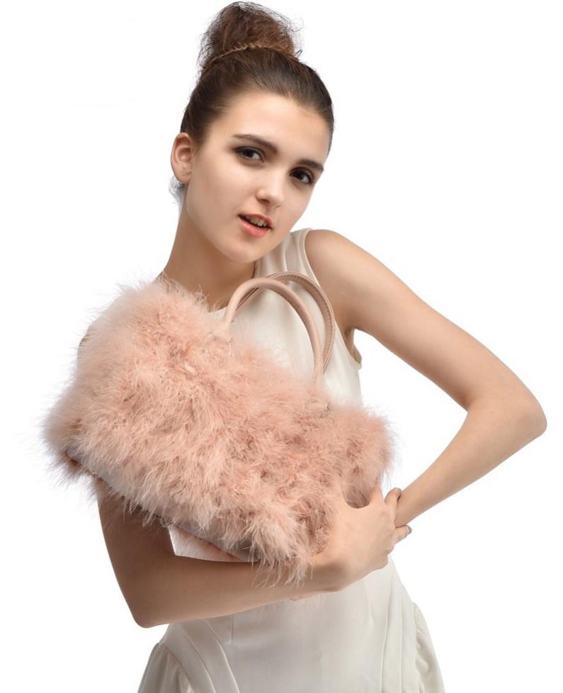Real-Turkey-Fur-Handbag-Fashion-Women-Ostrich-Fur-Shoulder-Bag-Genuine-Ostrich-Fur-Bags-2015-New