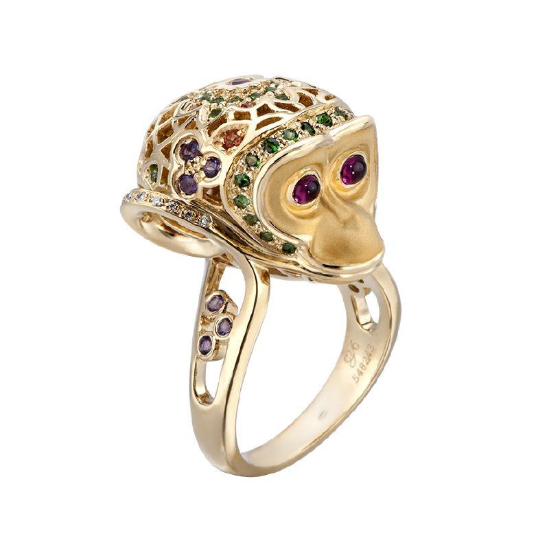 resized_DA12924 019925 Monkey ring in yellow gold, green tsavorites, orange saphires, amethyst and diamonds