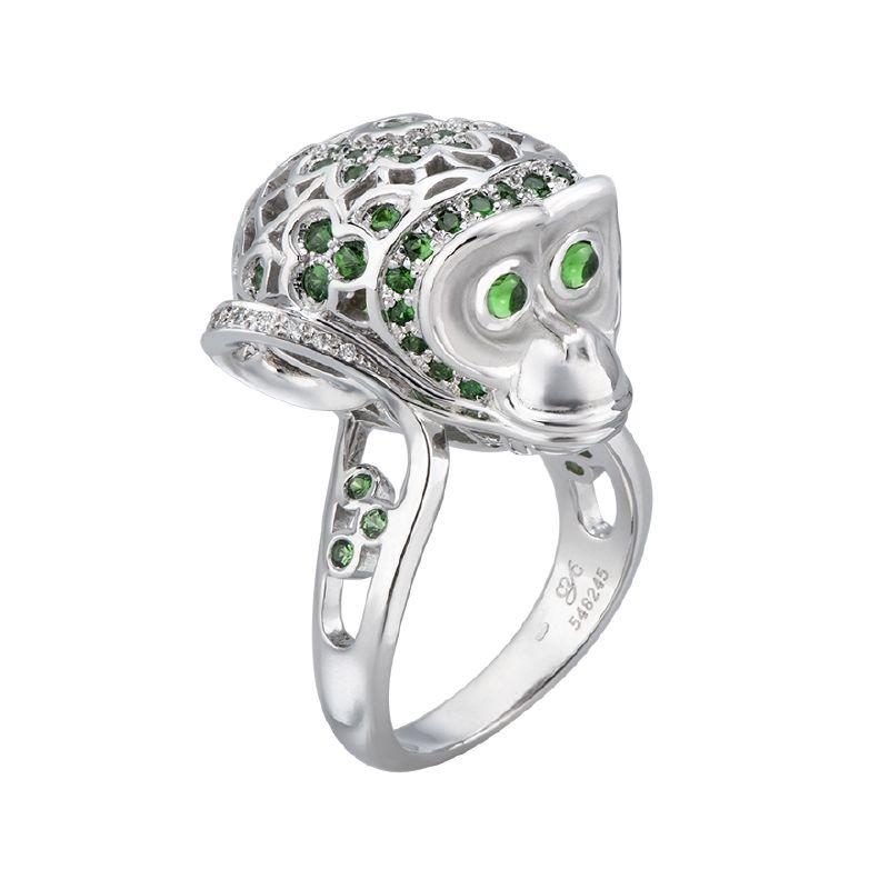 resized_DA12924 023202 Monkey ring in white gold, green tsavorites and diamonds
