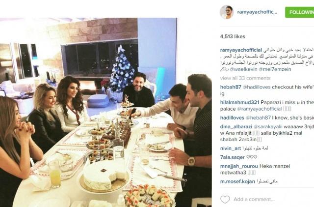 زوجتا ملحم زين ورامي عياش على مائدة واحدة.. ما رأيكم؟