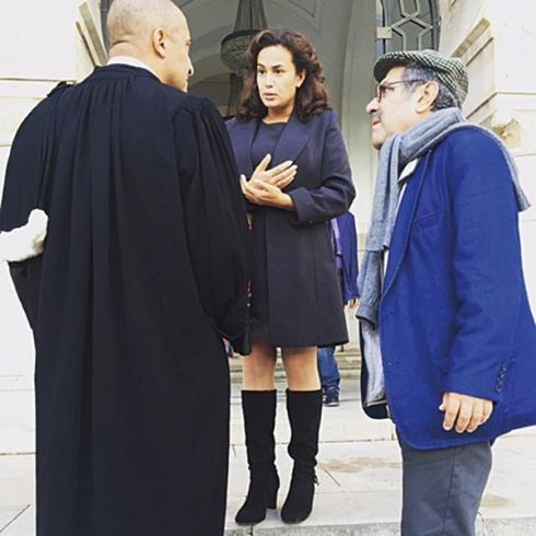 هند صبري إلى جانب المخرج رضا الباهي