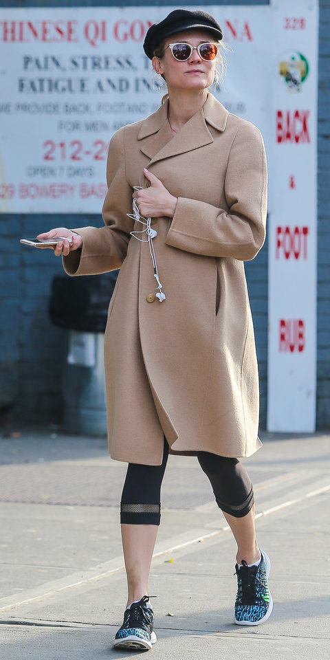 Exclusive... Diane Kruger Returns From A Trip To The Gym In NYC