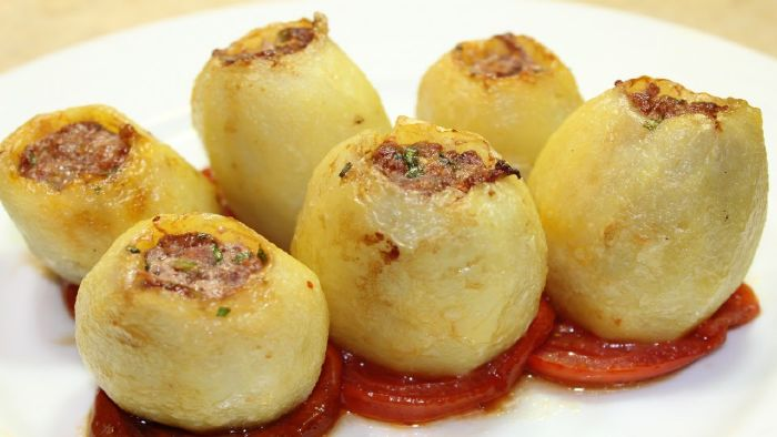 كبة البطاطس بالأرز واللحم