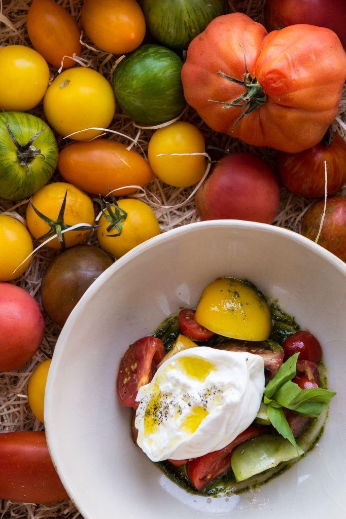 resized_Fume - Italian burrata, basil pesto, heirloom tomato salad