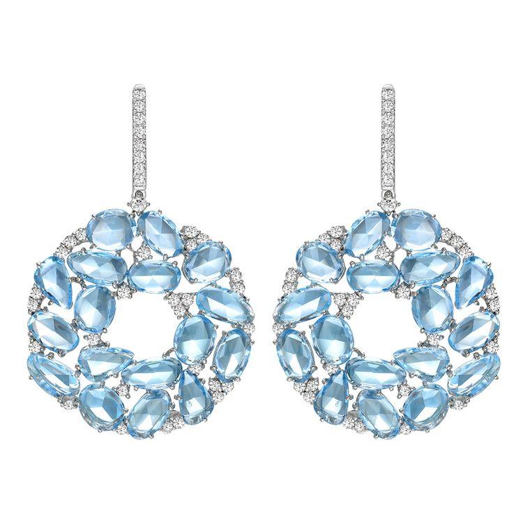 Kiki McDonough Blue Topaz Diamond Earrings