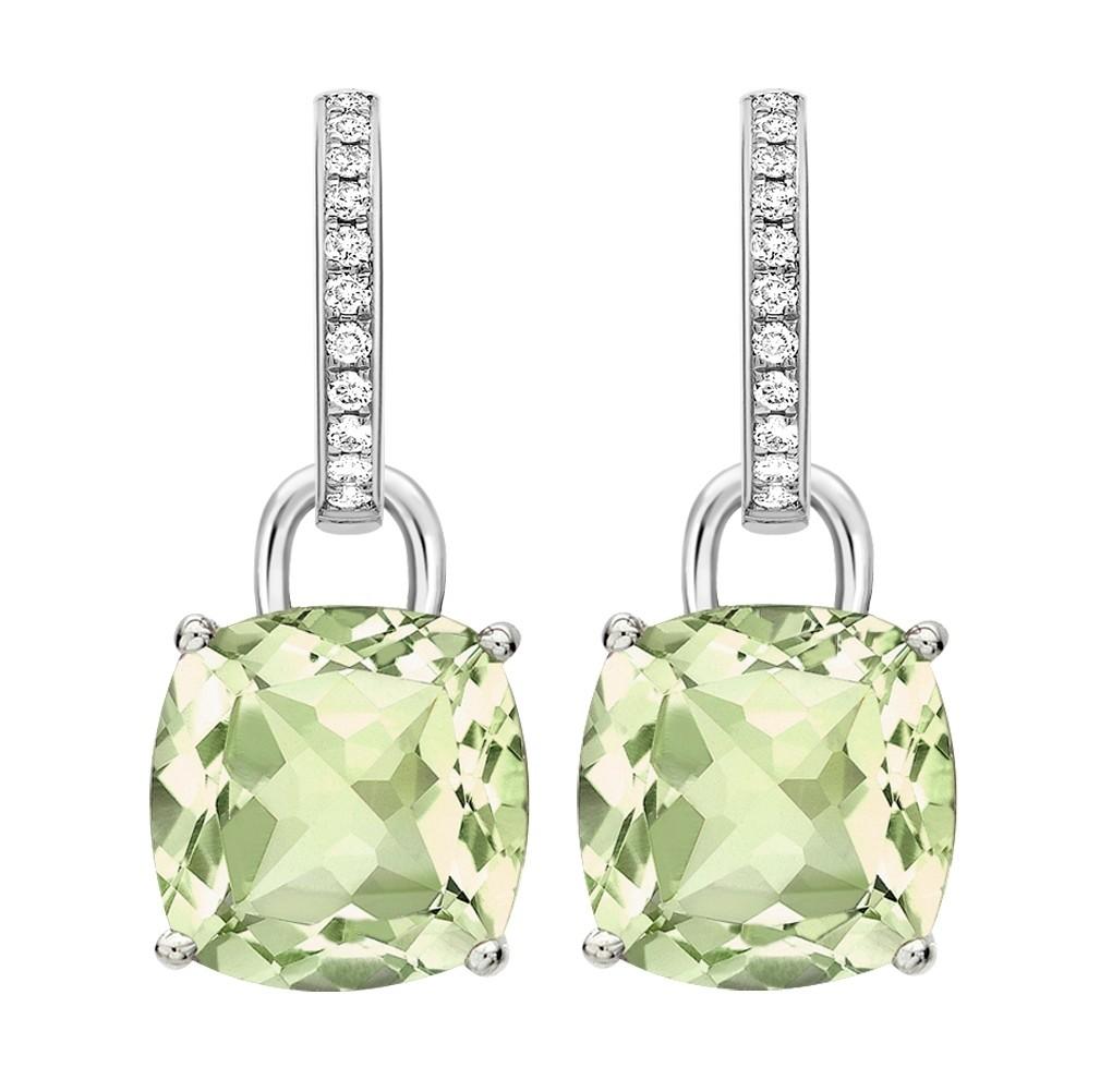 Kiki McDonough  - Kiki Classic Green Amethyst and Diamond Cushion Drop Earrings