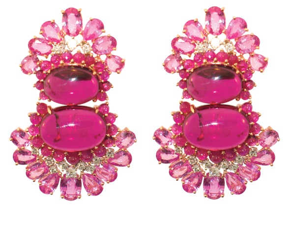 Rose gold, diamond, ruby, and pink sapphire earrings; Lorraine Schwartz,