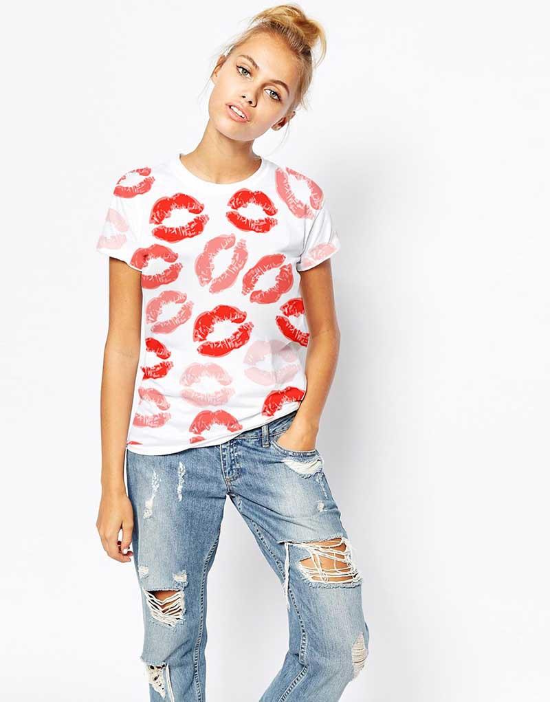 Summer-Short-Sleeve-font-b-Women-b-font-T-font-b-Shirt-b-font-red-lip