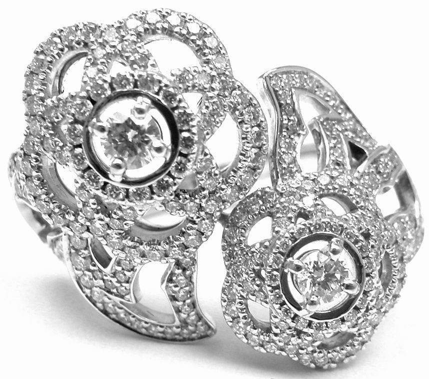 chanel diamond white gold two-finger ring