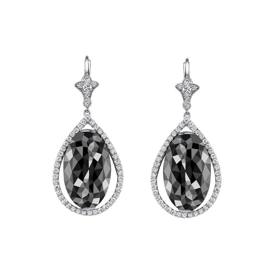 resized_JulieBownNeilLaneEarrings - Neil Lane ~ oval faceted black diamond and platinum earrings