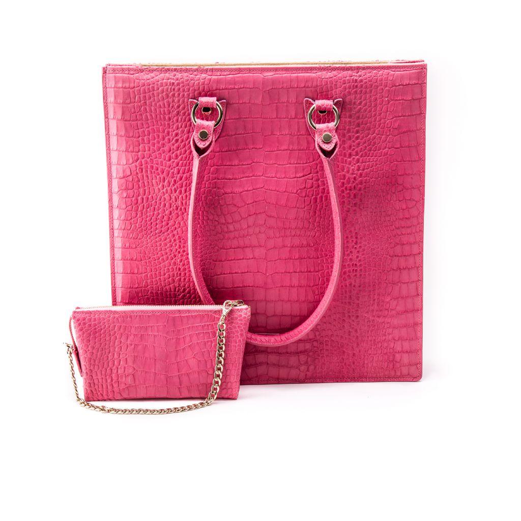 resized_Aida Tote Bag in Pink Crocodile Print_AED 4200