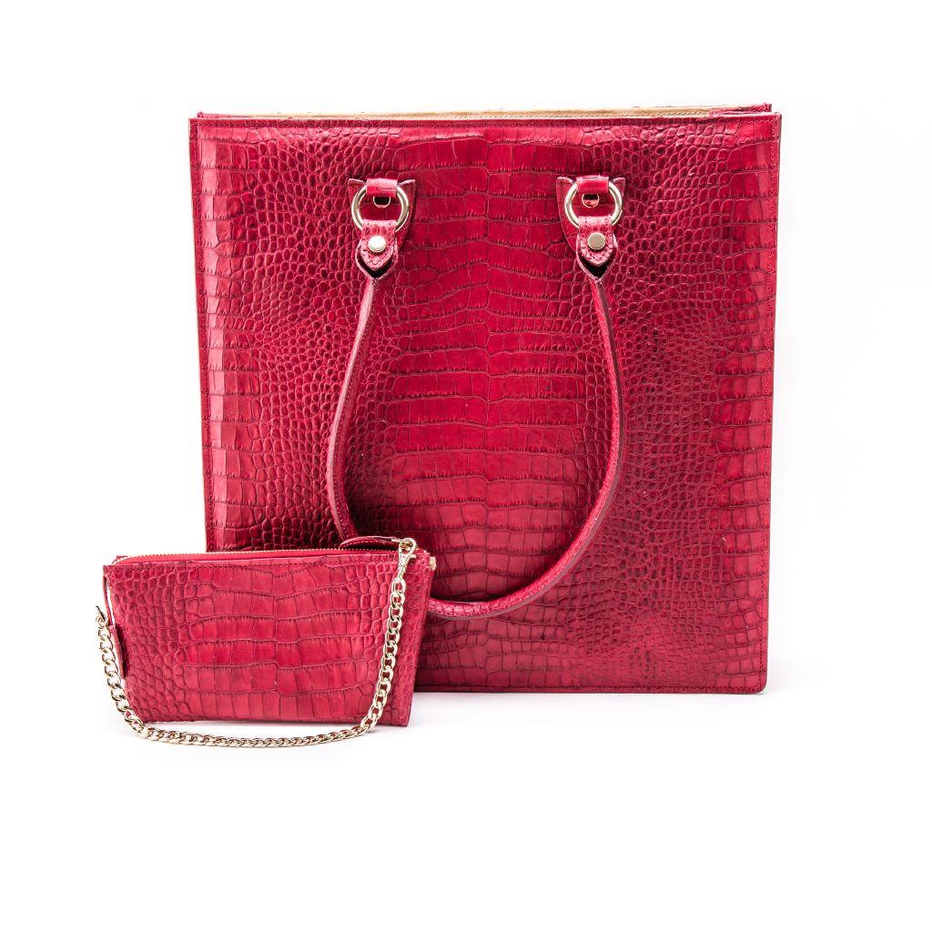 resized_Aida Tote Bag in Red Crocodile Print_AED 4200