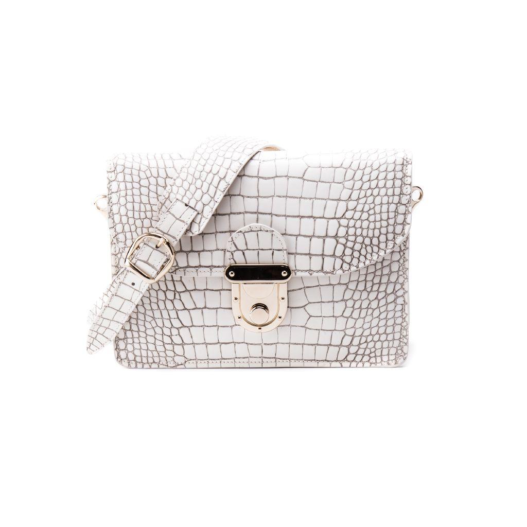 resized_Angelina Cross Body Bag in Dirty White Crocodile Print_AED 4000